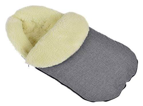 Baby Fußsack WinterFußsack für Kinderwagen wolle Große Maße 105 cm für Buggy grau Len Mit Kaputze [071]
