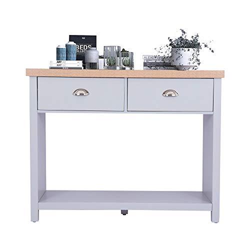 Happy Home - Consola con 2 cajones y organizador de estanterías, para dormitorio, salón, mesa auxiliar, escritorio, 97 x 35 x 76 cm