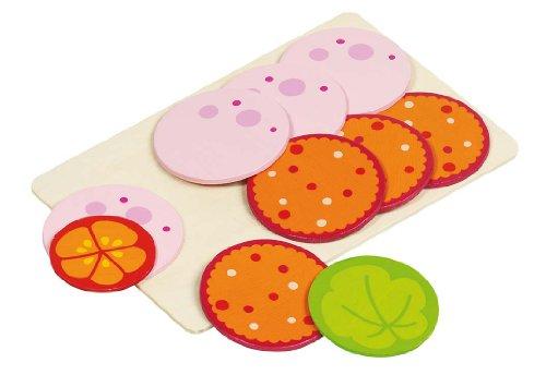 Goki 51810 - Kaufläden und Zubehör - Wurstaufschnitt, 8 Scheiben, 1 Salatblatt, 1 Tomatenscheibe