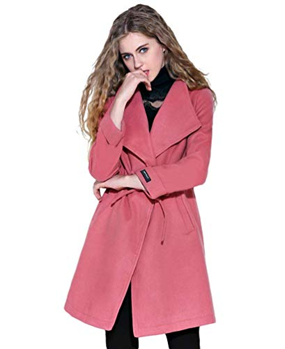 HX fashion Damen Windbreaker Winter Parker Revers Langarm Classic Unifarben Kordelzug Seitentaschen Mäntel Casual Moderner Stil Coat Kleidung (Color : Rostrot, Size : 3XL)
