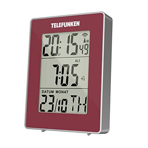 Wecker Funkwecker digital Funkuhr DCF LCD Multifunktion Bewegungssensor rot zweifacher Alarm Thermometer Datum Kalender TELEFUNKEN FUD-30-S (R)