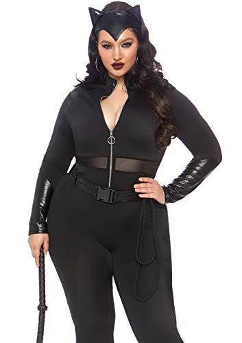 Leg Avenue Women's Plus Size 3 Pc Sultry Supervillain Costume, Black, 1X / 2X