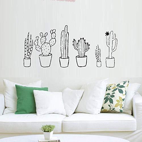 supmsds Cactus Black & White Set Wandtattoo Pflanzen Frühling Kaktus Topfpflanzen Natur Grün Wohnzimmer Decals Home Decoration 93X42CM