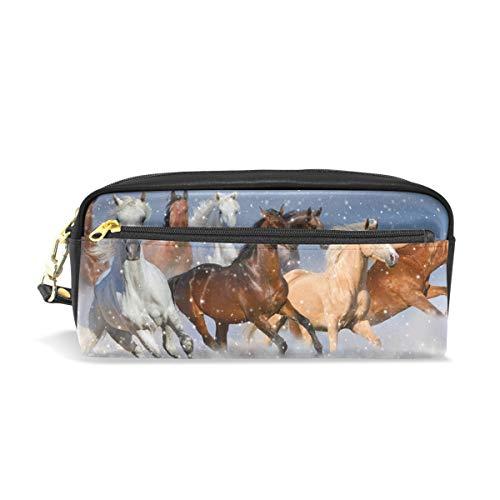 ISAOA Estuche de gran capacidad con cremallera y papelería para caballos, bolsa para lápices de nieve, bolsa de maquillaje, regalo de Navidad para niñas y niños
