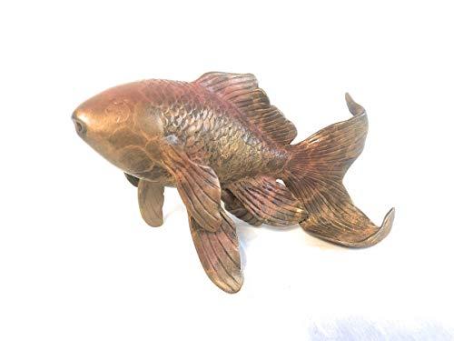 H. Packmor GmbH Bronzeskulptur Goldfisch mit Wasserspeier - Teichdekoration Gartenskulptur - 18x11x8 cm