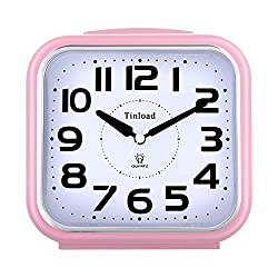 5.5 Silent Analog Alarm Clock Non Ticking, Gentle Wake, Beep Sounds, Increasing Volume, Battery Operated Snooze and Light Functions, Easy Set, Pink