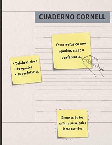 CUADERNO CORNELL: ESPECIAL PARA TOMA DE APUNTES Y RECOGIDA DE IDEAS | ANOTA Y SINTETIZA LO MÁS DESTACADO DE CADA CLASE, REUNIÓN O CONFERENCIA | MOTIVO FLORAL ⭐