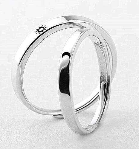 lihai Couple Ring for Best Friend Sun Moon Silver Ring Women Gift,Best Friend Promise Rings for 2 Sun and Moon,Couple Rings,Sun Moon Adjustable Rings,Matching Rings for Couples Sun and Moon,2pcs