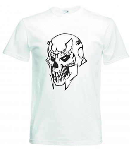 Camiseta de Caballero cráneo con Casco, Esqueleto, Rocker, Club de Moto, gótico,...