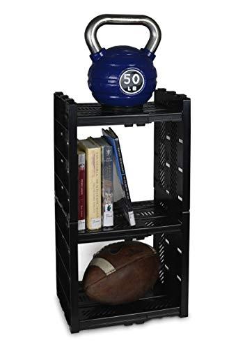 StorageMax Deluxe Locker Shelf, Locker Organizer with 3 Adjustable Shelves for Work and School Lockers, Black