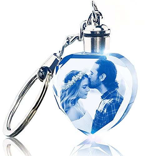 Llavero Cristal Personalizado con Foto de Cristal Grabado con Luz LED Regalo Conmemorativo para Familiares Amigos Aniversario de Bodas Regalos de Cumpleaños, 1,2' x 1,2' x 0,5' Corazón
