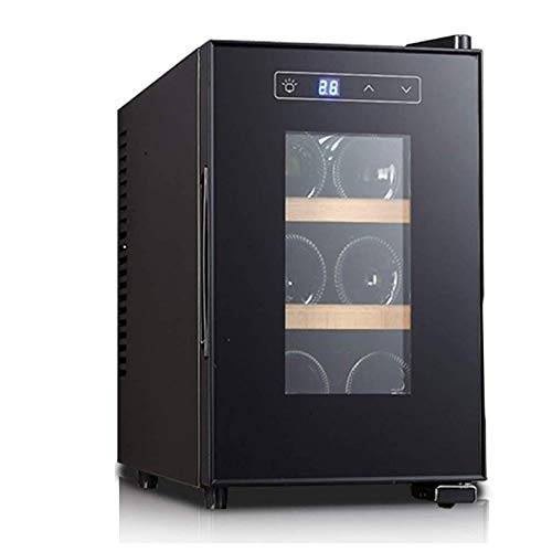 YFGQBCP Mini gabinete del Vino, operación silenciosa Frigorífico, 6 Botellas de Libre-de pie Enfriador de Vino de Acero Inoxidable, con Puerta de Cristal