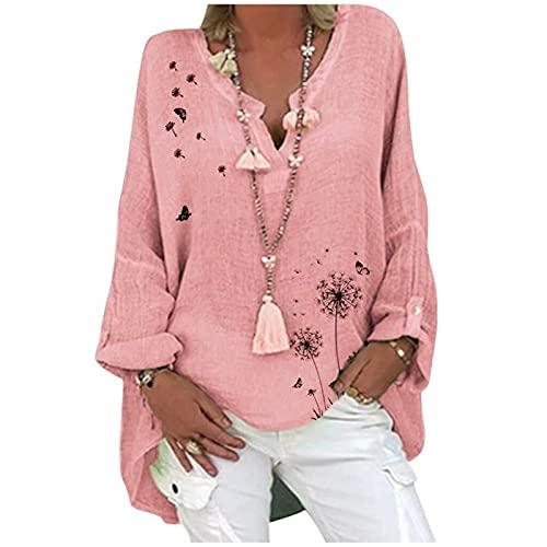 Damska lniana bluzka oversize elegancka bluzka z nadrukiem w motyle lniana bluzka z długim rękawem i dekoltem w serek bluzki tunika luźne długie topy (Color : Pink, Size : X-Large)