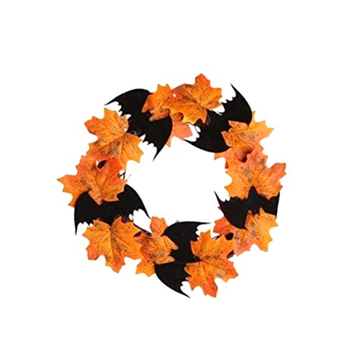 KUTO Guirnalda de Murciélago de 25 Cm, Guirnalda de Hoja de Arce Simulada, Decoración de La Pared de Las Ventanas de La Puerta Decoración de Halloween Guirnalda de Murciélago Colgante