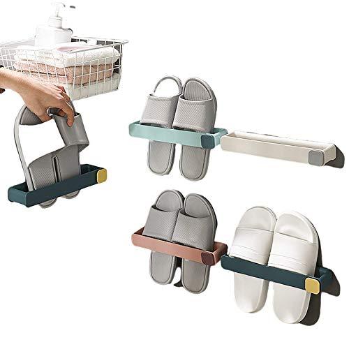 Intravachine, Bad Slipper Rack, sin agujero para colgar en la pared tipo zapatero zapatero, espacio de almacenamiento multicapa, ganchos para WC