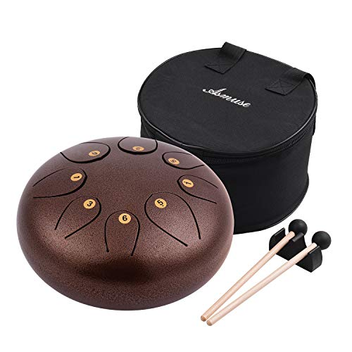 Muslady stalen tong trommel Pan Drum Percussion 10 inch 8 noten met sticks Koffer Bracket Tonic Sticker Travel Carrying Bag