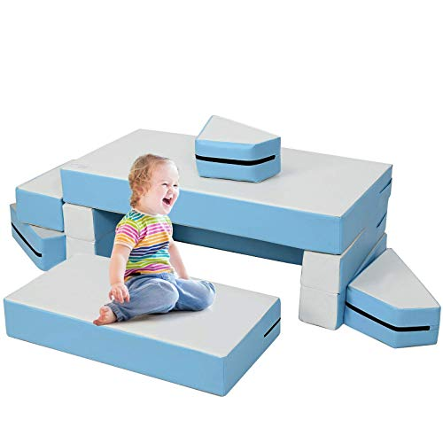 Costzon Climb and Crawl Foam Set, 4-in-1 Convertible Furniture Into Toddler Bed, Sofa, Table, Activity Play Blocks, 8-Piece Lightweight Colorful Interactive Set for Baby and Preschooler (Contemporary)