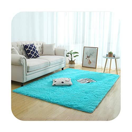 Silky Fluffy Carpet Modern Home Decor Lang Plush Shaggy Rug Children's Play Mats Sofa Living Bedside Matte Balcony Carpets Blau 60 x 120 cm