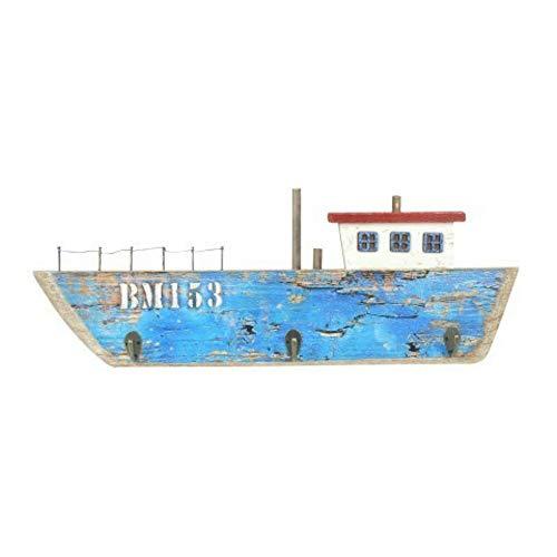 CAPRILO Percha de Pared Decorativa Marinera de Madera 3 Ganchos Barco Azul. Percheros. Adornos y Muebles Auxiliares. Decoración Hogar. Regalos Originales. 19 x 53 x 4 cm.