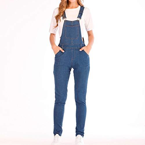 Jeans Pantalon Damenmode Cool Denim Lätzchen Jeans Hosen Tasche Sexy Lange Strampler Latzhose Overalls Ärmellose Overalls Aushöhlen Strampler M Blau