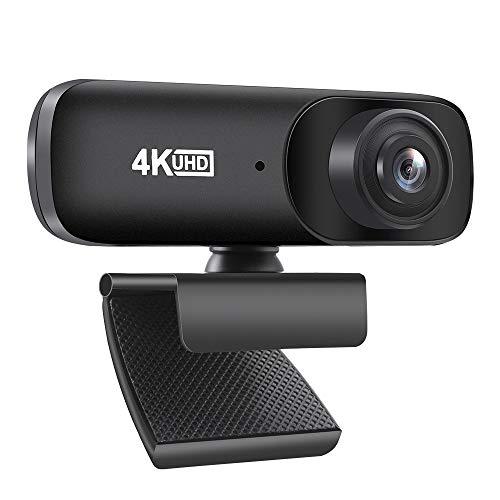 Diealles Shine Webcam 4K, Webcam USB mit Mikrofon, Web Kamera mit 120° Blickfeld für Computer, Skype, Video Chat und Aufnahme, Schwarz