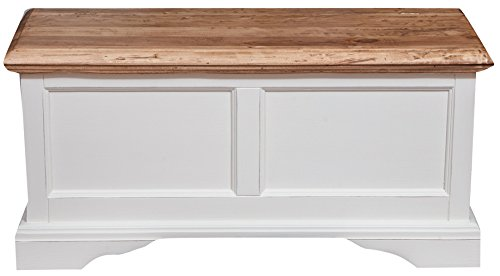 Biscottini Baúl Country de Madera Maciza de Tilo Estructura Blanca Antiguo Piano Acabado Natural 100x 38x 48cm