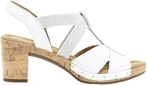 Gabor 22.773 Damen Sandalen,Riemchensandale, Frauen,Sandalette,Sommerschuh,Absatz,Comfort-Mehrweite,Weiss(Kork/Nieten),6 UK