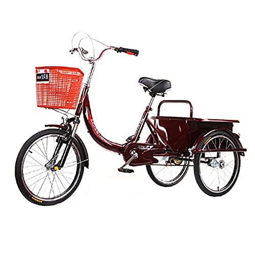 Triciclo para Adultos Bicicleta Triciclo Adulto 20in Diseño De Una Sola Velocidad De La Bicicleta para Personas Mayores, Colores Múltiples(Color:Red)