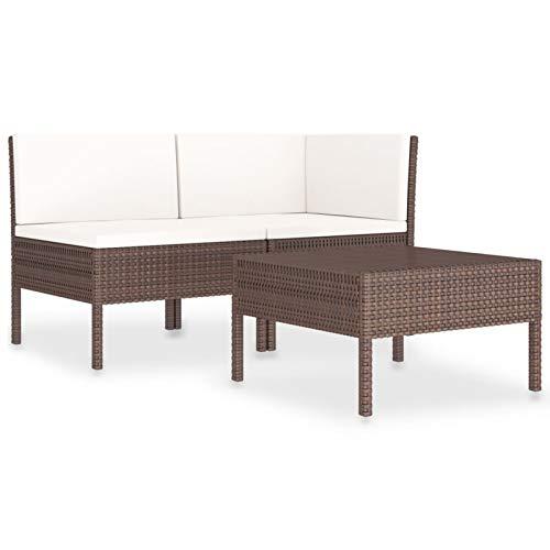 Tidyard Set Muebles de Jardín 3 pzas y Cojines uego Comedor Exterior Mesa y Sillas Patio Ratán Sintético Marrón y Blanco Crema