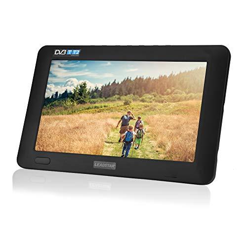 TV Portable, TV numérique portable avec TNT DVB-T-T2 analogique HD 16: 9 Lecteur de télévision avec 800mah Batteries Rechargeables et Allume-Cigare pour Chambre, Cuisine, Caravane, Voiture. (9 pouces)