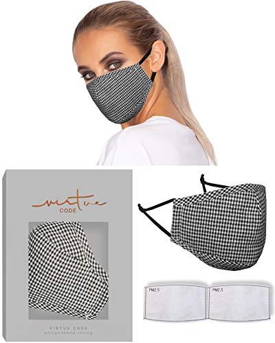 Die Lösungsmaske in Schwarz-Weiß-Karos von VIRTUE CODE Fabric Face Masks