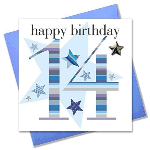 Claire Giles Geburtstagskarte für Jungen, Aufschrift Happy Birthday, Zahl 14