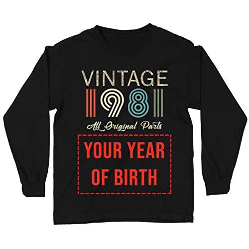 lepni.me Camiseta para Niños Personalizado con Cualquier Año Regalo Vintage Todas Las Piezas Originales (3-4 Years Negro Multicolor)