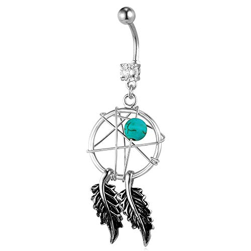 Lucky Dreamcatcher Dangle Belly Ring Platinum Plated Navel Jewelry 14G