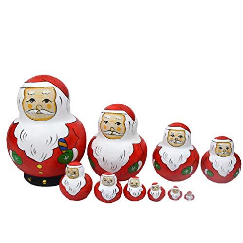 Toyvian 10 Stücke Holz Weihnachtsmann Figur Matroschka Matryoshka Matrjoschka Weihnachten Russische Puppen Spielzeug Kinder Baby Mitgebsel Spielzeug