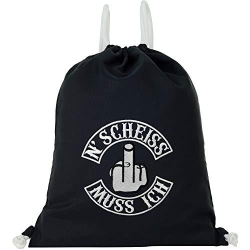 Bolsa de deporte impermeable negra con texto en alemán 'N' Scheiss muss ich Gymsack hombre Gym Bag Hipster bolsa resistente bolsa de deporte mochila Biker Rocker regalo Streetwear