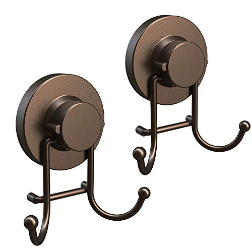 HOME SO Suction Cup Hooks for Shower Bathroom Kitchen Glass Door Mirror Tile – Loofah Towel Coat Bath Robe Hook Holder for Hanging up to 15 lbs – Rustproof Bronze Stainless Steel 2-Pack