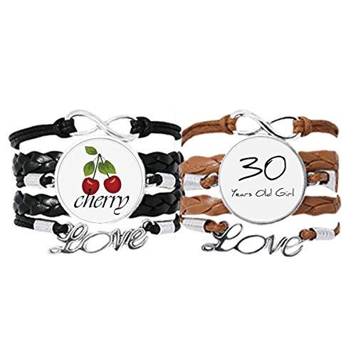 Bestchong Pulsera de 30 años de edad, estilo art decó, regalo de moda, correa de mano, cuerda de cuero, pulsera de amor de cereza, juego doble