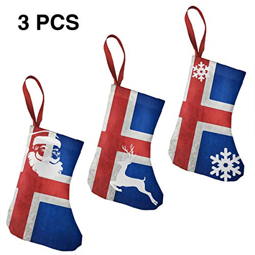 National Flag Of Iceland Grungy Effect Christmas Stockings,3 Pack 7.5' Mini Xmas Stockings For Family Decorations Hanging Ornaments For Xmas Holiday Party (Snowflake Santa Snowman Reindeer Imprint )