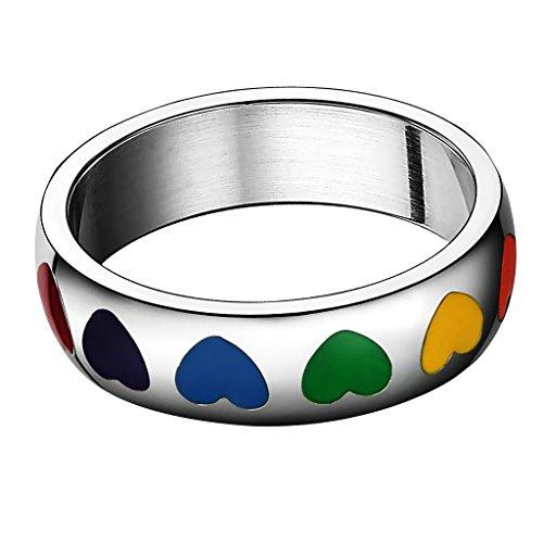 sharprepublic Romantische Frauen Männer Homosexuell Lesben Regenbogen Liebe Herz Epoxidharz Ring 1pc - Mehrfarbig - US8