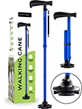 HONEYBULL Walking Cane for Men & Women | Free Standing, Foldable, Pivot Tip [Blue]