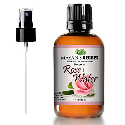 Rose Water Facial Toner Pure Natural Moroccan Rosewater Hydrosol Face Spray 4 oz by Mayan's Secret