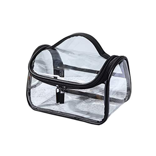Sac cosmétique portatif Se Pliant imperméable à l'eau Transparent Simple Grande capacité Fitness Wash Wash Bag Sac de Bain (Color : Black, Taille : 22 * 14cm)