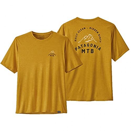 Patagonia, M's cap Cool Daily Graphic Shirt Maglietta a Manica Corta, MTB Crest: Hawk Gold X-Dye, L Uomo