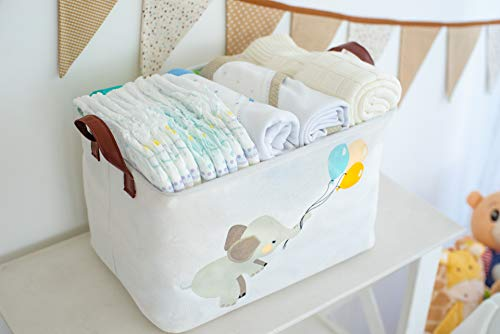 KAZULO Rectangular Storage Bin, Laundry Basket, Toy Box, for Boys and Girls, Cute Nursery Room, Bedroom, and Bathroom Decor, Dog Toy Basket, Nursery Bins and Boxes (Elephant and Balloons Rectangle)