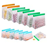 Food Storage Bags for Reusable 14 Pack, Stand Up FDA Grade Leakproof Reusable Vacuum Bags, 2 Gallon & 6 Sandwich Lunch Bags & 6 Small Kids Snack Reusable Bags For Meat Fruit Cereal Snacks