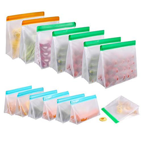 Food Storage Bags for Reusable Silicone 14 Pack, Stand Up FDA Grade Leakproof Reusable Vacuum Bags, 2 Gallon & 6 Sandwich Lunch Bags & 6 Small Kids Snack Reusable Bags For Meat Fruit Cereal Snacks