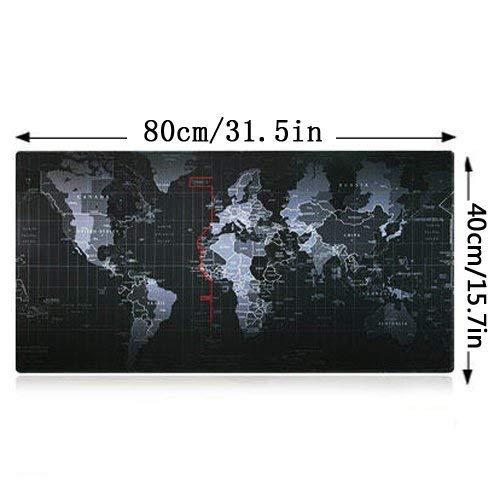 YINGNEW XXL Almohadilla de Raton Gaming Grande con Soporte de Gel -Base de Goma Antideslizante - Super Gruesa 800x400x3mm (Mapa del Mundo)