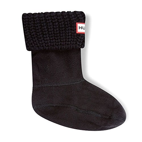 Hunter Kids Half Cardigan Boot Sock Black Textile Medium / 28-31 EU