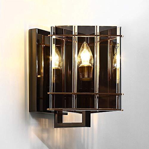 Maonb Wandlamp, postmodern creatief, energiebesparend, Nordic Iron Art, rookglas, grijs, E14, unieke kop, bescherming van de ogen, wandlamp, nachtkastje, hal, huishouden, dobbelstenen